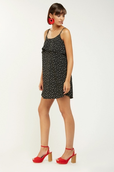 Polka Dotted Ruffle Mini Dress