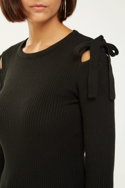 Tie Up Sleeve Rib Knit Top