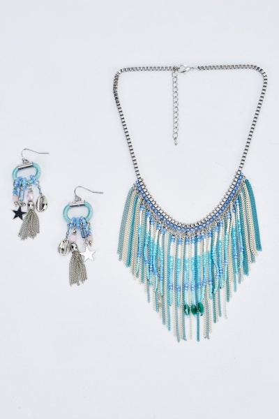 Chained Beaded Necklace And Earrings Set