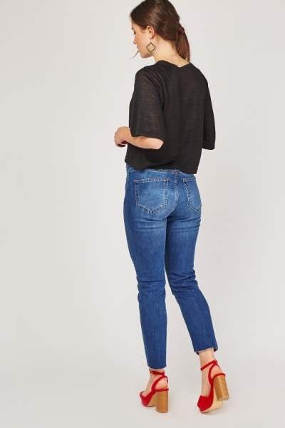 Cut Out Hem Mom Jeans