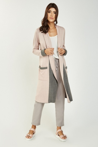 Long Waterfall Two Tone Cardigan