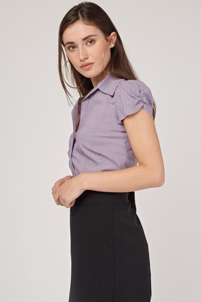 Ruched Sleeve Fitted Striped Top