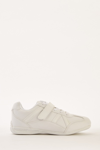 Lace Up Faux Leather Trainers