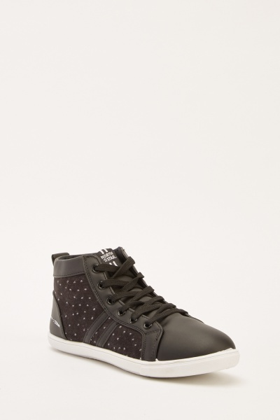 Polka Dot Contrast Lace Up Plimsolls