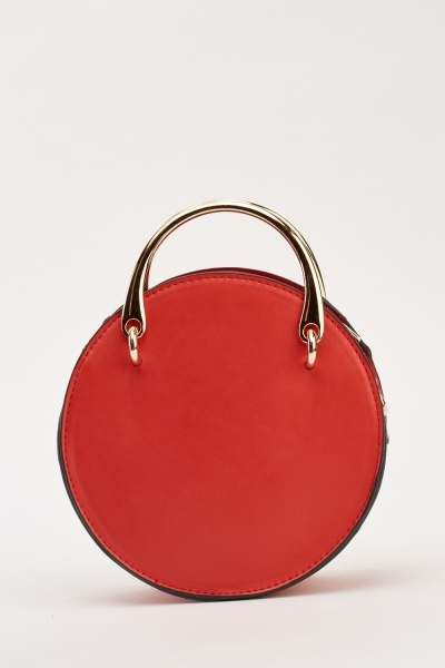Studded Faux Leather Circle Bag
