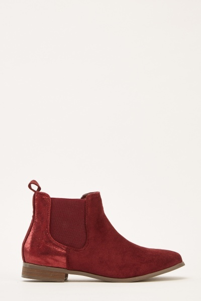 Textured Suedette Chelsea Boots