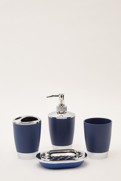 4 Piece Dark Blue Bathroom Set