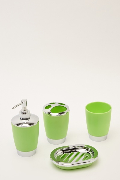 4 Piece Green Bathroom Set