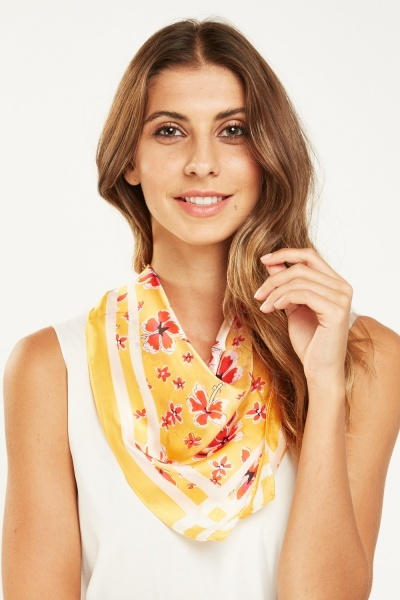 Floral Yellow Scarf