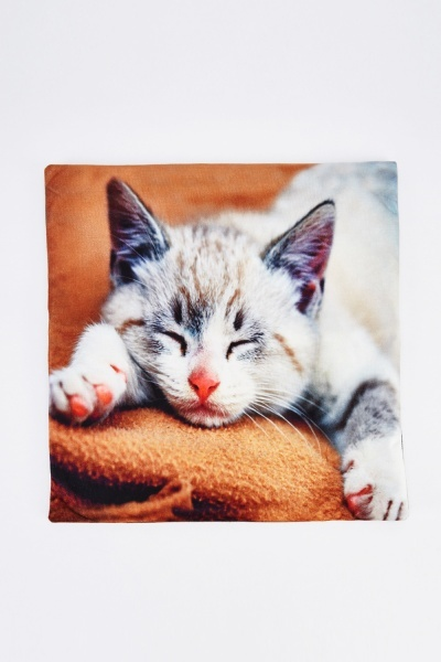 Kitten Snoozing Graphic Cushion