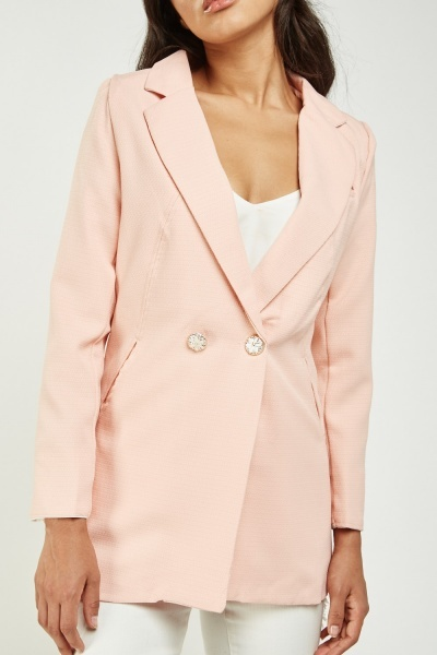 Textured Double Breasted Blazer