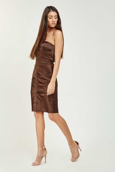 Bandeau Ruched Sateen Dress
