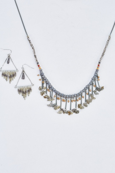 Grey Beaded Mixed Necklace And Earrings Set