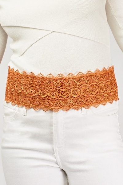 Mesh Overlay Wide Belt