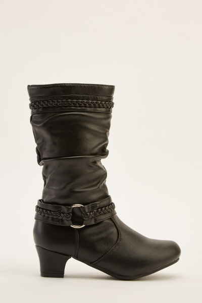 Buckled Side Ruched Boots