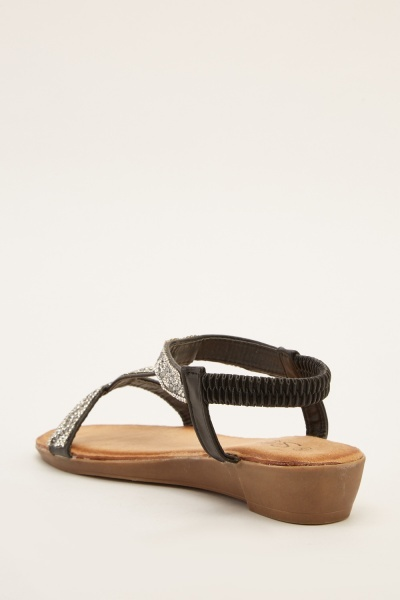 Encrusted Ankle Strap Sandals