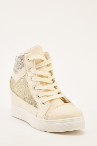 d72d0cb7f67c Encrusted Mesh High Top Trainers