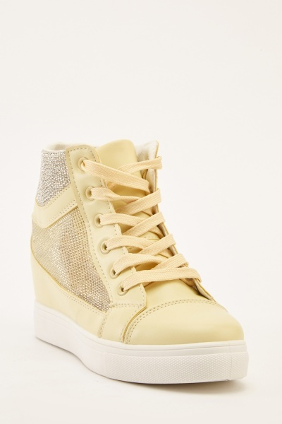 Encrusted Mesh High Top Trainers