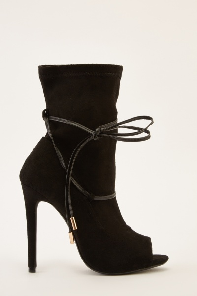 Peep Toe Suedette Heeled Boots