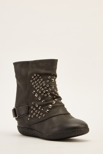 Studded Faux Leather Ankle Boots