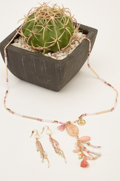 Beaded Mixed Detailed Necklace And Earrings Set