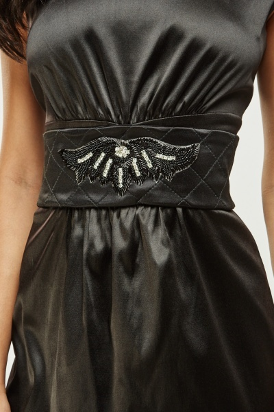 Embellished Belt Detail Midi Dress