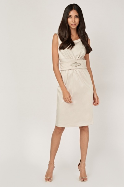 Embellished Waist Sateen Dress