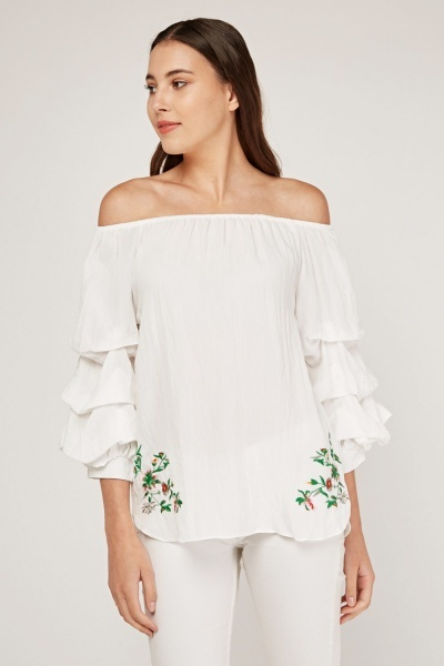 Embroidered Layered Sleeve Bardot Top