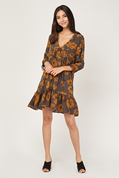 Flower Print Frilly Swing Dress