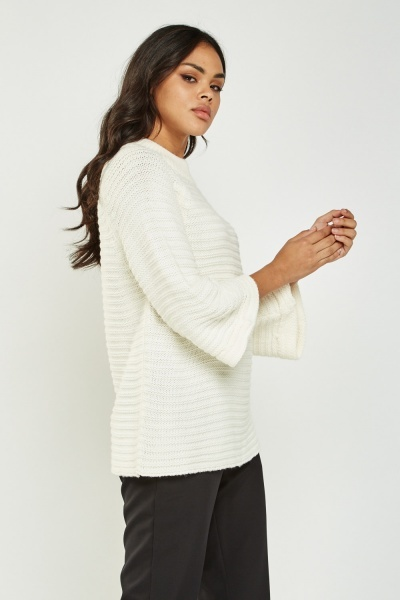 Knitted Flared Sleeve Jumper