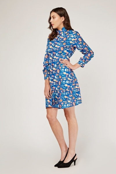 Novelty Print Frilly Shirt Dress