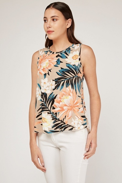 Tropical Floral Print Shell Top