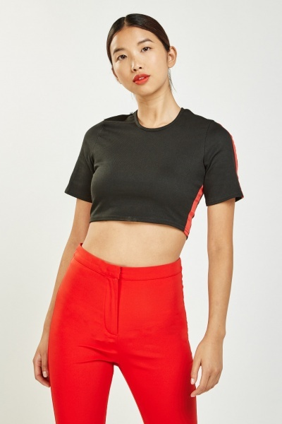 Contrasted Side Crop Top