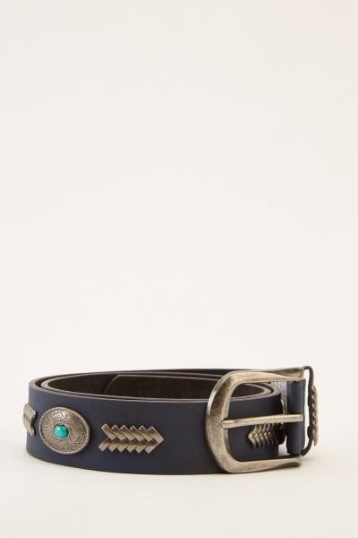 Embellished Contrast Buckled Belt