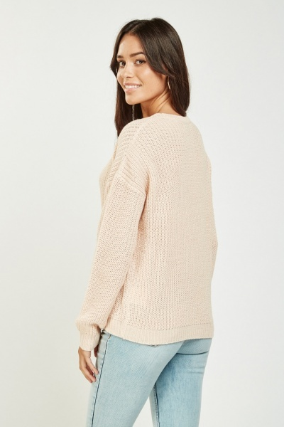 Embroidered Lala Front Knit Jumper