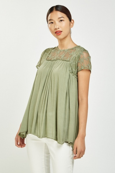 Embroidered Mesh Tunic Top