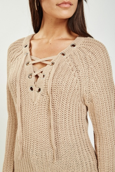 Lace Up Herringbone Knit Jumper