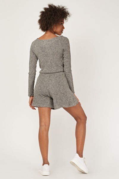 Ribbed Long Sleeve Playsuit