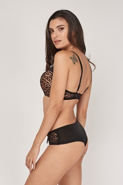 Leopard Print Overlay Bra And Brief Set