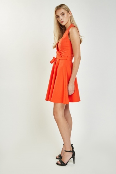 Pleated Wrap Skater Dress
