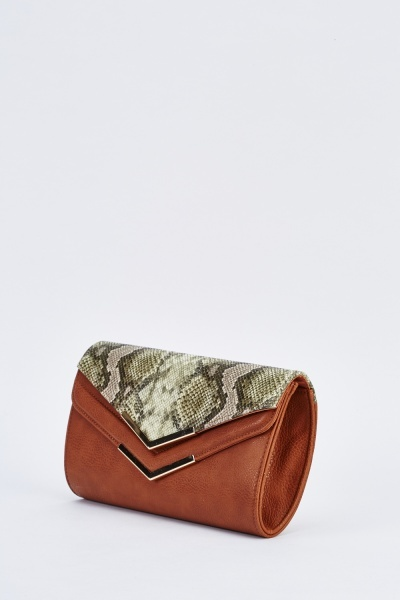 Contrasted Large Clutch Bag