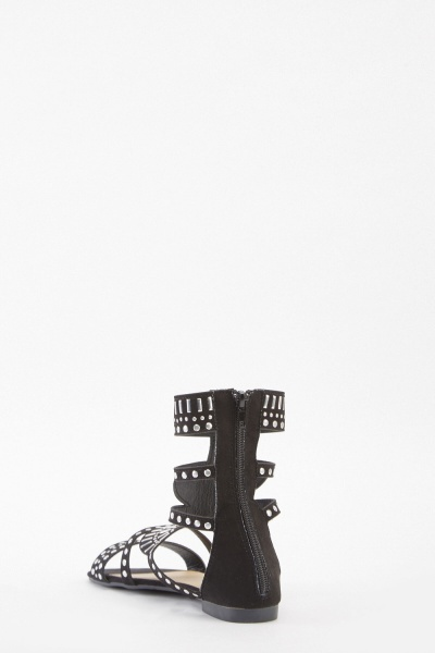 Embellished Cut Out Gladiator Sandals