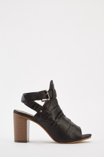 Ruched Ankle Cut Heeled Boots