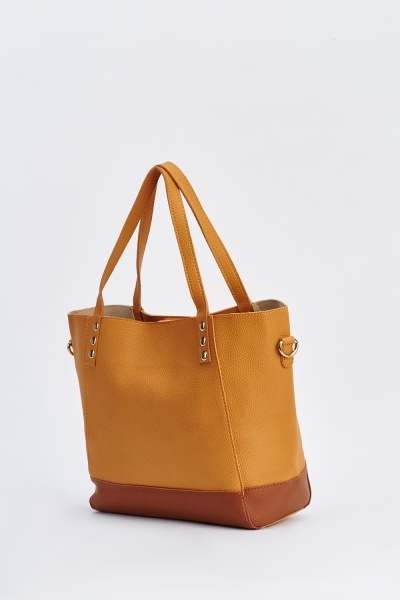 Two Tone Faux Leather Tote Bag