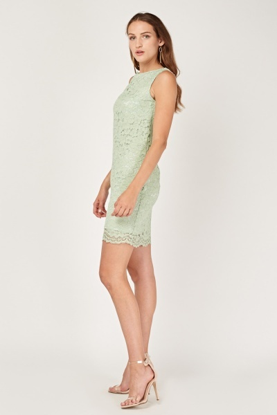 Sleeveless Lace Overlay Dress
