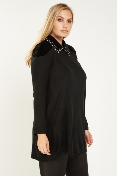 Studded Velveteen Collar Contrast Top