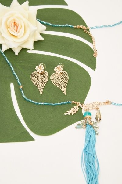 Beaded Tasseled Embellished Necklace And Earrings Set