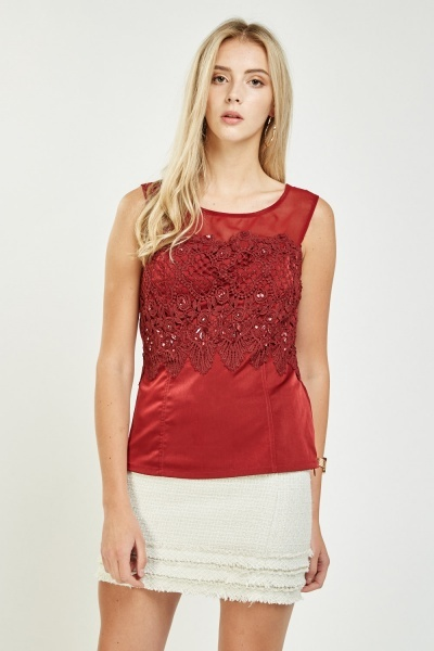 Crochet Embellished Contrast Shell Top