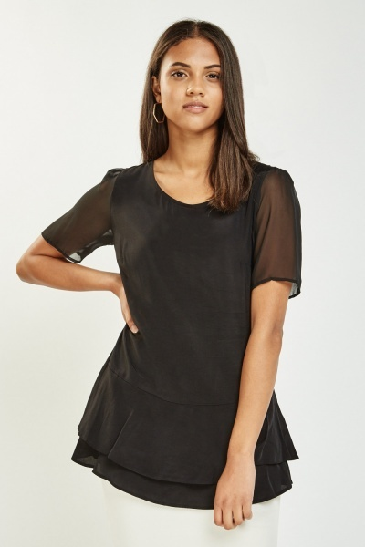 Flared Hem Sheer Top