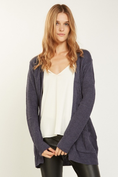Herringbone Stitch Knit Cardigan